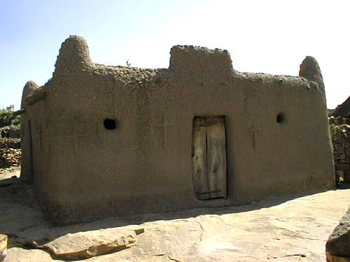 A church in the Dogon village of Djiguibombo at the top of the plateau.
