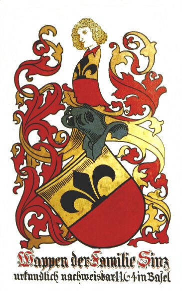 The Sinz Family Crest - from 1164 in Basel, Switzerland